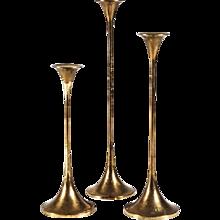 Set of Three Swedish Brass Candlesticks by Gnosjö