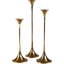 Set of Three Swedish Brass Candlesticks by Gnosjö