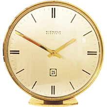 "Brass Mid-Century ""Everdate"" Table Clock by Kienzle"