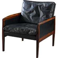 Hans Olsen Armchair in Rosewood and Leather