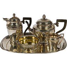 Christofle Tea and Coffee Set with Ebony Handles