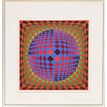 Geometric Print by Victor Vasarely