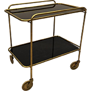 Italian Brass Bar Cart, Trolley from the 1960s