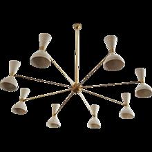 Large Brass Chandelier Style of Stilnovo