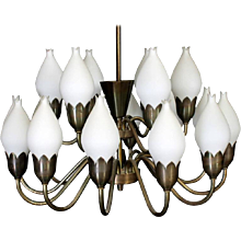 Large Chandelier by Fog & Mørup with Hand Blow Glass Tulips