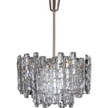 Mid-Century Kalmar Ice Glass Chandelier