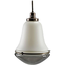 Bauhaus Opaline Glass Pendant Lamp in the Style of Peter Behrens