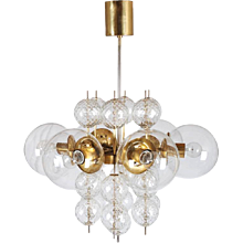 Large Brass Chandelier with Crystal Globes