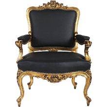 Rococo Style Upholstered Open Armchair
