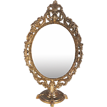 Oval Table Brass Mirror in Baroque Style