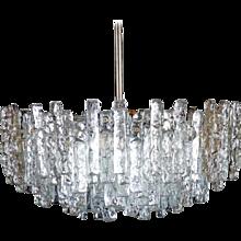 "Austrian Kalmar ""Fuente"" Crystal Ice Glass Chandelier"
