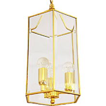 Brass Faceted Glass Pendant Latern