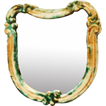 "Art Deco Green Ceramik Wall Mirror by ""Gmundner Keramik"""