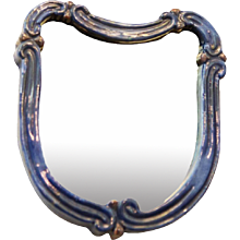 "Art Deco Blue Ceramik Wall Mirror by ""Gmundner Keramik"""