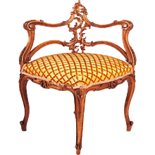 French Louis XV Style Carved Walnut Corner Chair