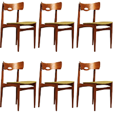 Set of Six Danish Teak Chair by Bramin