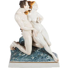 """Art Deco Figurine by Karl Ens """"Satyr and Nude"""""""