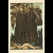 """Ernst Fuchs """"Turmbau Europas"""" Surrealistic Color Etching"""