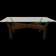 Mid-Century Teak, Glass Coffee Table