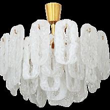 Ice Glass Chandelier Attributed to Kalmar