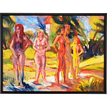 "Wolfgang Glechner Oil on Canvas ""Women In The Castle Park"""