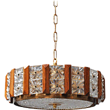 Carl Fagerlund for Orrefors Glass, Brass and Teak Chandelier