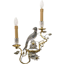 Maison Baguès Style Gilt Metal Sconce with Glass Parrots