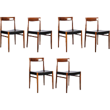Set of Six Rosewood Dining Chairs in the Style of Møller 77 Chairs