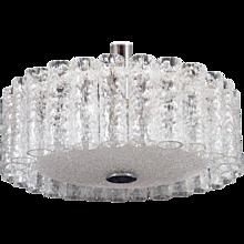 Elegant German Mid-Century Doria Textured Glass Chandelier