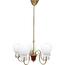 Opaline Glass Chandelier from the 1960s