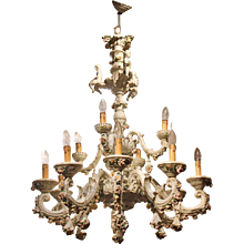 Capodimonte Porcelain 12 Lights Chandelier