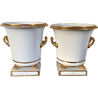 Large Pair Antique Early 19th century French Empire Old Paris Porcelain Cachepot Planter Vases in Gold & White 1810