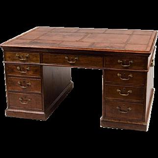 Antique 18th century George III Mahogany Partner's Desk