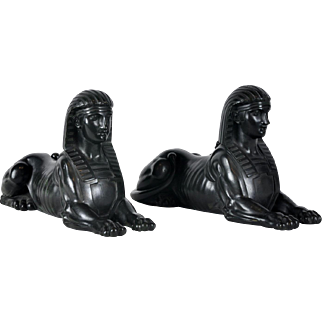 Pair Antique 19th century Grand Tour Egyptian Revival Bronze Sphinxes