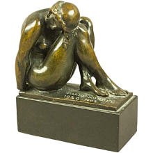 Bronze Art Deco Sculpture of a Woman in Repose by Mario Korbel (1882-1954) Roman Bronze Works New York 1929