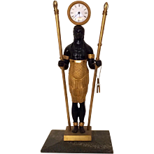 French Empire Directoire Gilt & Patinated Bronze Blackamoor Clock Bechet a Bordeaux c. 1800