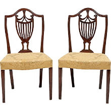 Pair George III English Adam Shield Back Mahogany Chairs with Urn Motif 18th century