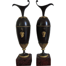 Pair French First Empire Gilt & Patinated Bronze Ewers on Rouge Marble Bases 1800 - 1805