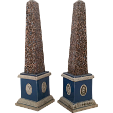 Pair English Prattware Pearlware Obelisks 18th century