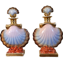 Pair French Empire Paris Porcelain Perfume Scent Bottles in the Form of Scallop Sea Shells Resting on Coral Branches 1820