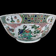 Large Chinese Kangxi Period Porcelain Famille Vert Punch Bowl