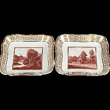 Pair Coalport Porcelain Square Porcelain Dishes with Hand Painted Sepia Landscapes and Gilt Greek Key Border 1810