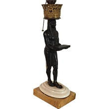 Regency Egyptian Revival Bronze Statue of Nefertem Standing on Sienna Marble as Lamp 19th century