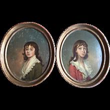 Pair 18th century Family Portraits of Young Boys Joseph Wright (1756 - 1793) American / British