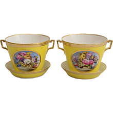 Pair of Derby Yellow Ground Porcelain Cachepots and Stands 18th century