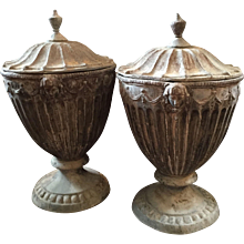 Pair English Regency Lead Garden Urns 19th c.