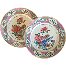 Pair 18th c. Chinese Qianlong Porcelain Plates in Famille Rose Palette