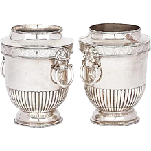 Pair Early 19th century English Regency Old Sheffield Silver on Copper Vase Form Wine Coolers with Lion Mask Handles 1810
