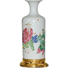 Chinese Yongzheng Famille Rose Rouleau Shaped Vase with French Ormolu Mounts 18th century