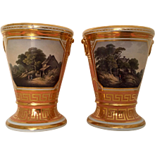 Pair Worcester Barr Flight & Barr Porcelain Vases with Topographical Views of Lymington Near Hampshire Early 19th century